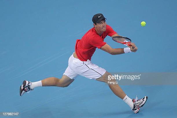 Tomas Berdych of the Czech Republic returns a shot to Jurgen Melzer of Austria during the China Open at the National Tennis Center on October 4, 2011...