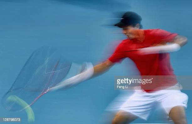 Tomas Berdych of the Czech Republic returns a shot to Marin Cilic of Croatia during the men's final of China Open at the National Tennis Center on...