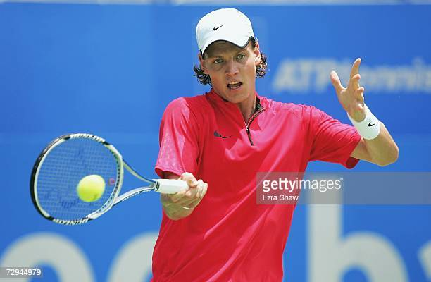 Tomas Berdych of the Czech Republic returns a shot to Robert Smeets of Australia on day two of the 2007 Medibank International at the Sydney...