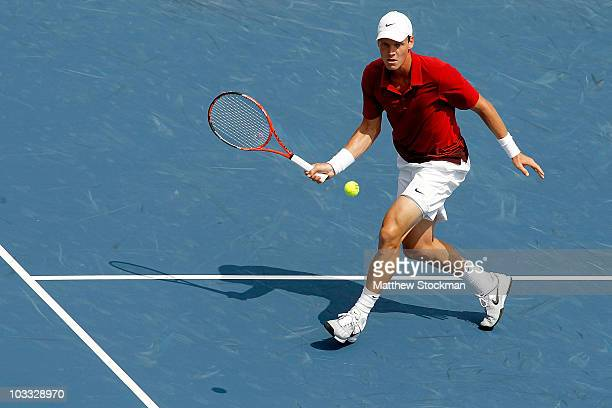 Tomas Berdych of the Czech Republic rreturns a shot to Sergiy Stakhovsky of the Ukraine during the Rogers Cup at the Rexall Centre on August 10, 2010...