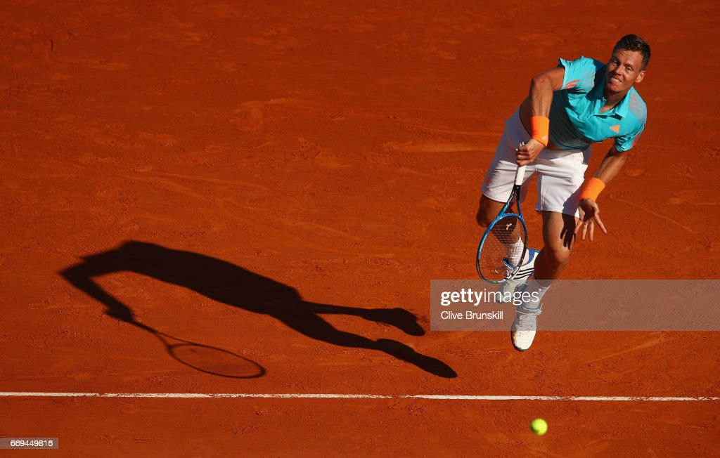 Tomas Berdych of the Czech Republic serves against Andrey Kuznetsov of Russia in their first round match on day two of the Monte Carlo Rolex Masters at Monte-Carlo Sporting Club on April 17, 2017 in Monte-Carlo, Monaco.
