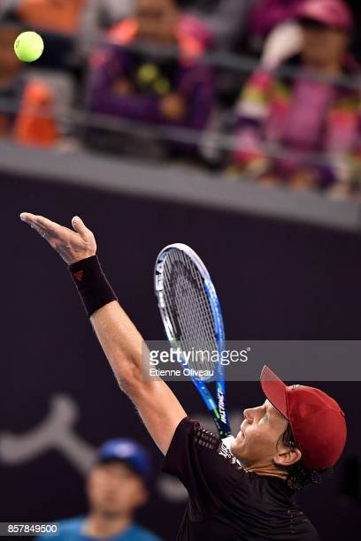 Tomas Berdych of the Czech Republic serves against Andrey Rublev of Russia during his Men's singles second round match on day six of the 2017 China...