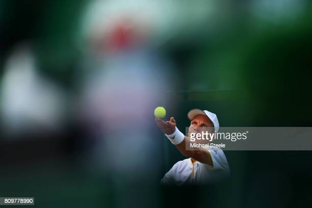 Tomas Berdych of The Czech Republic serves during the Gentlemen's Singles second round match against Ryan Harrison of The United States on day four...