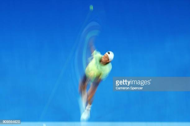 Tomas Berdych of the Czech Republic serves in his quarterfinal match against Roger Federer of Switzerland on day 10 of the 2018 Australian Open at...