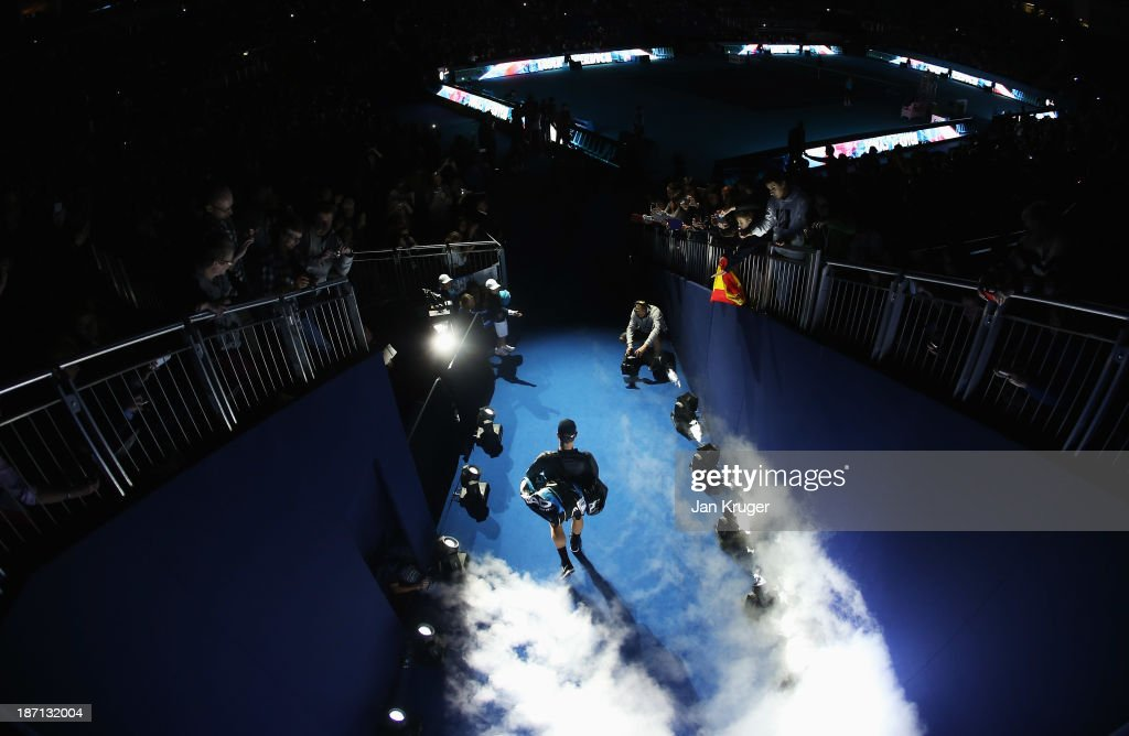 Tomas Berdych of the Czech Republic walks out for his men's singles match against David Ferrer of Spain during day three of the Barclays ATP World Tour Finals at O2 Arena on November 6, 2013 in London, England.