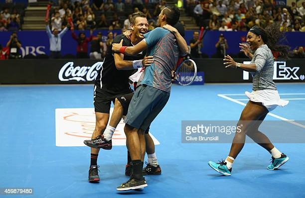 Tomas Berdych of the Singapore Slammers celebrates the super tie break against Gael Monfils of the Indian Aces after game scores where level at 23-23...