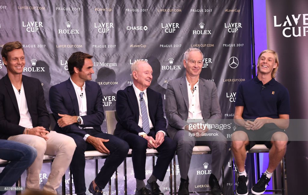 Tomas Berdych, Roger Federer, Rod Laver, John McEnroe and Denis Shapovalov attend Laver Cup Team Announcement on August 23, 2017 in New York City.
