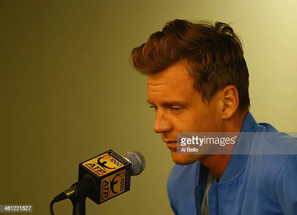 Tomas Berdych speaks to the media after withdrawing from the Sony Open due to gastroenteritis before his match versus Rafael Nadal on day 12 of the...