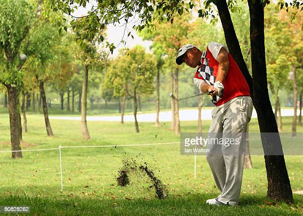 Tomas Bjorn of Denmark in action during the Pro-Am round of the BMW Asian Open at the Tomson Shanghai Pudong Golf Club on April 23, 2008 in Shanghai,...