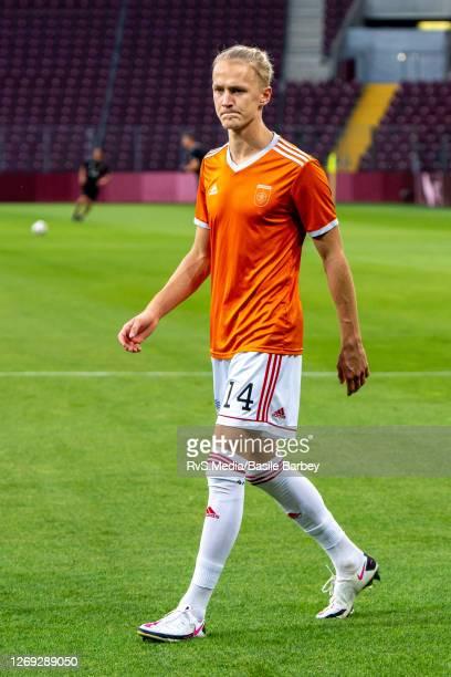 Tomas Bobcek of MFK Ruzomberok looks on prior the UEFA Europa League qualification match between Servette FC and MFK Ruzomberok at Stade de Geneve on...