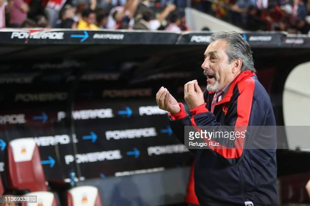 Tomas Boy Espinoza coach of Chivas reacts during the 14th round match between Morelia and Chivas as part of the Torneo Clausura 2019 Liga MX at Jose...