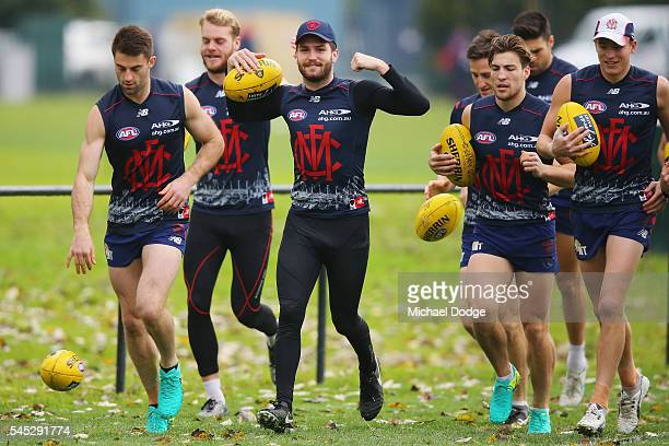 Tomas Bugg gestures of the Demon during a Melbourne Demons AFL training session at AAMI Park on July 7 2016 in Melbourne Australia