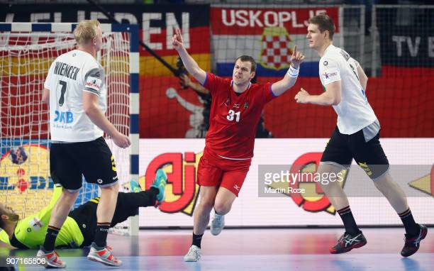 Tomas Cip of Czech Republic celebrates a goal during the Men's Handball European Championship main round group 2 match between Germany and Czech...