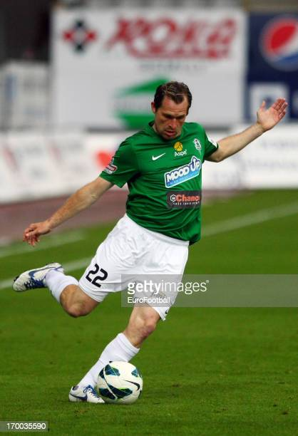 Tomas Cizek of FK Jablonec in action during the Czech First League match between FK Jablonec and SK Sigma Olomouc held on May 26, 2013 at the Chance...