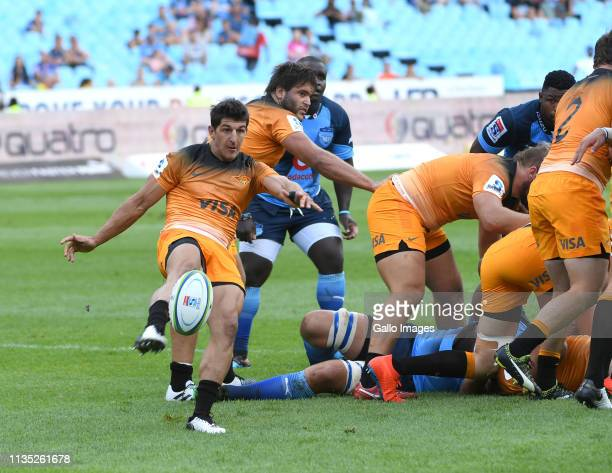Tomas Cubelli of the Jaguares in action during the Super Rugby match between Vodacom Bulls and Jaguares at Loftus Versfeld on April 06 2019 in...