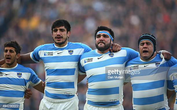 Tomas Cubelli Tomas Lavanini Ramiro Herrera and Marcos Ayerza of Argentina get emotional as they sing the national anthem during the 2015 Rugby World...