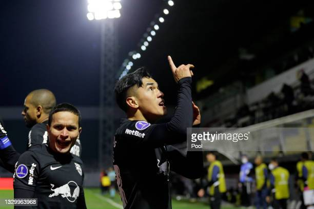 Tomas Cuello of Red Bull Bragantino celebrates after scoring the first goal of his team during a round of sixteen second leg match between Red Bull...