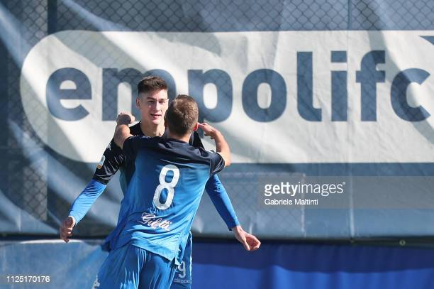 Tomas Cvancara of Empoli FC U19 celebrates after scoring a goal during the Serie A Primavera match between Empoli U19 and Cagliari U19 on February 16...