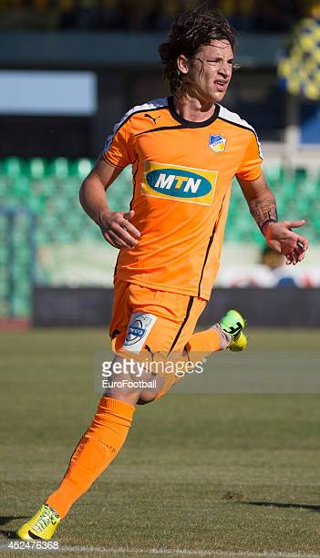 Tomas De Vincent of APOEL FC in action during the Cypriot First Division match AEL Limassol FC and APOEL FC at the Tsirion Stadium on May 17 2014 in...