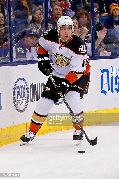Tomas Fleischmann of the Anaheim Ducks controls the puck during the game against the Columbus Blue Jackets on March 24 2015 at Nationwide Arena in...