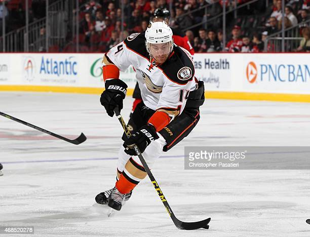 Tomas Fleischmann of the Anaheim Ducks skates with the puck during the first period against the New Jersey Devils at the Prudential Center on March...