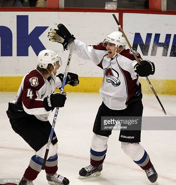 Tomas Fleischmann of the Colorado Avalanche celebrates his third goal of the game all scored in the 3rd period against the Chicago Blackhawks with...