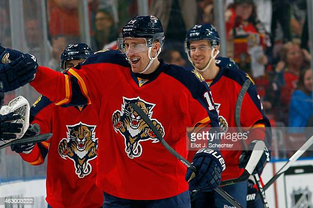 Tomas Fleischmann of the Florida Panthers celebrates his goal with teammates against the Nashville Predators at the BBT Center on February 8 2015 in...