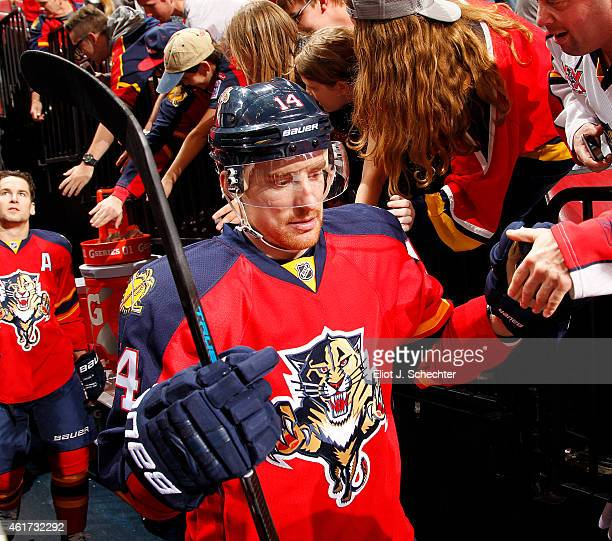 Tomas Fleischmann of the Florida Panthers is greeted by fans on the way out to the ice prior to the start of the game against the Colorado Avalanche...