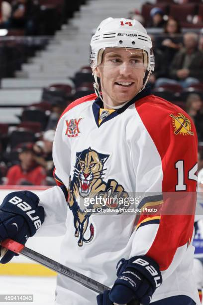 Tomas Fleischmann of the Florida Panthers looks on during warmups prior to an NHL game against the Ottawa Senators at Canadian Tire Centre on...