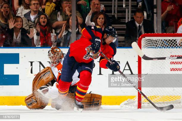 Tomas Fleischmann of the Florida Panthers scores against goaltender Sergei Bobrovsky of the Philadelphia Flyers at the BankAtlantic Center on January...