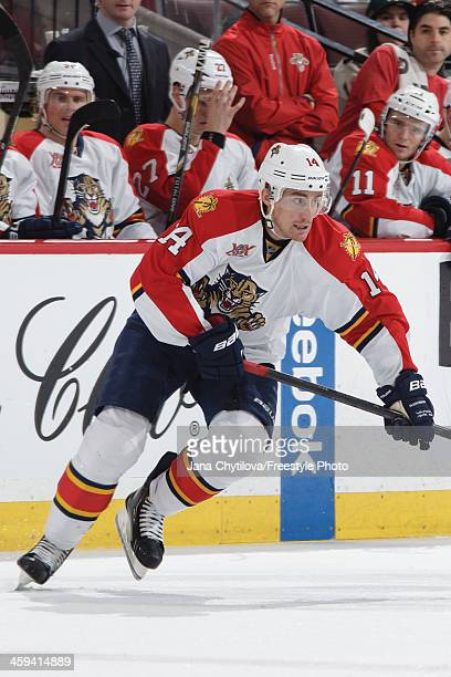 Tomas Fleischmann of the Florida Panthers skates against the the Ottawa Senators during an NHL game at Canadian Tire Centre on December 19 2013 in...