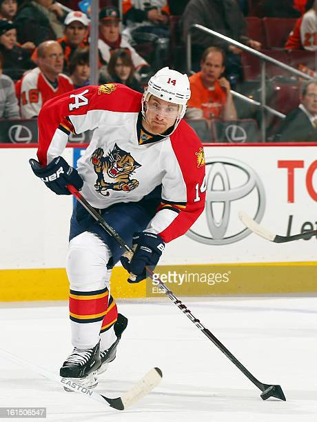 Tomas Fleischmann of the Florida Panthers takes a shot against the Philadelphia Flyers on February 5 2013 at the Wells Fargo Center in Philadelphia...