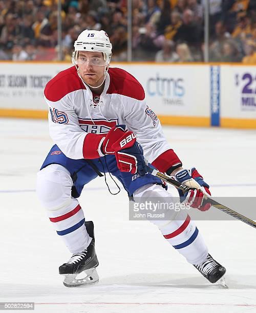 Tomas Fleischmann of the Montreal Canadiens skates against the Nashville Predators during an NHL game at Bridgestone Arena on December 21 2015 in...
