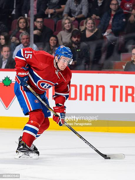 Tomas Fleischmann of the Montreal Canadiens skates with the puck during the NHL game against the St Louis Blues at the Bell Centre on October 20 2015...