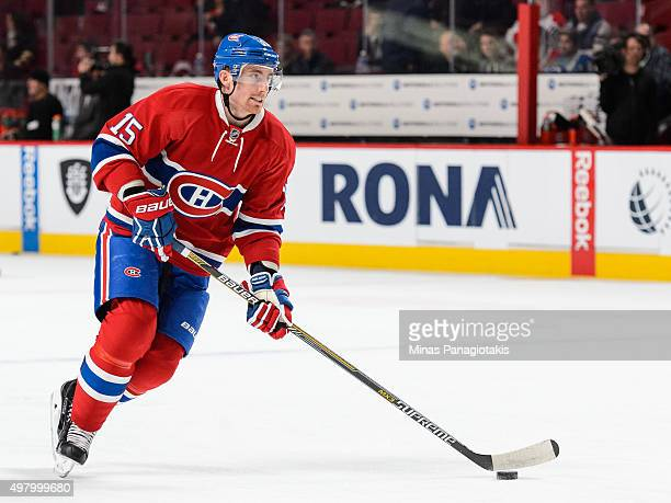Tomas Fleischmann of the Montreal Canadiens skates with the puck during the warmup period prior to the NHL game against the Vancouver Canucks at the...