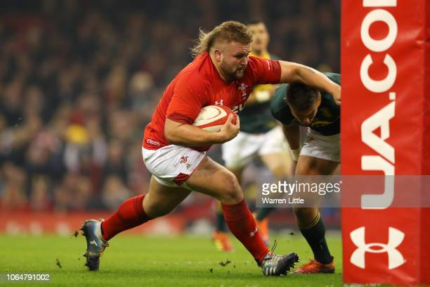 Tomas Francis of Wales runs in to score his sides first try during the International Friendly match between Wales and South Africa on November 24...