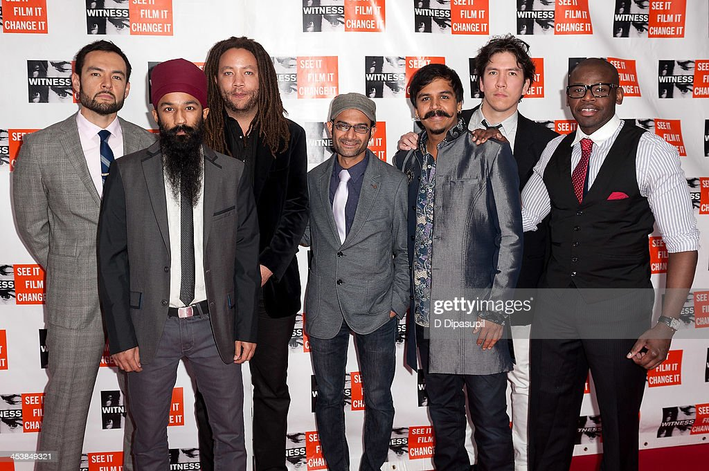 Tomas Fujiwara, Sonny Singh, MiWi La Lupa, Rohin Khemani, Sunny Jain, Mike Bomwell, and Ernest Stuart of the band Red Baraat attend the 2013 Focus For Change gala benefiting WITNESS at Roseland Ballroom on December 5, 2013 in New York City.
