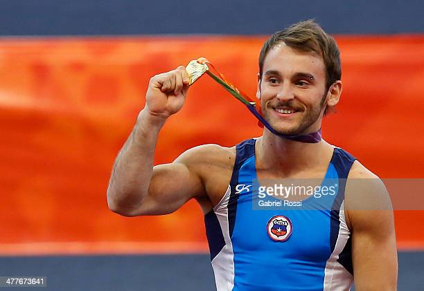 Tomas Gonzalez of Chile in the podium Men's Floor Event during day four of the X South American Games Santiago 2014 at Centro de Alto Rendimiento...