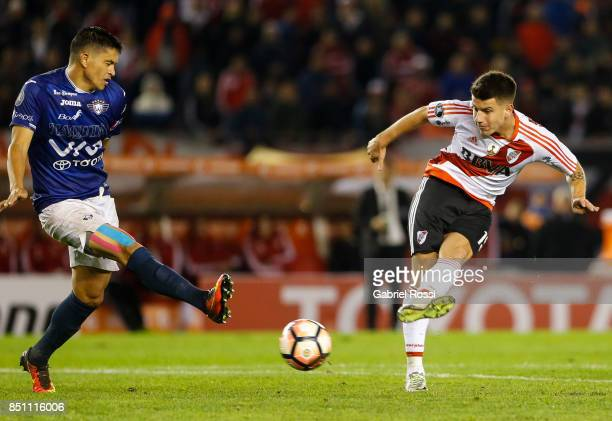 Tomas Gustavo Andrade of River Plate kicks the ball during a second leg match between River Plate and Wilstermann as part of the quarter finals of...