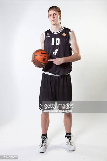 Tomas Hampl #10 of Bizkaia Bilbao Basket during the 2011/12 Turkish Airlines Euroleague Basketball Media day at Polideportivo Fadura on October 6...