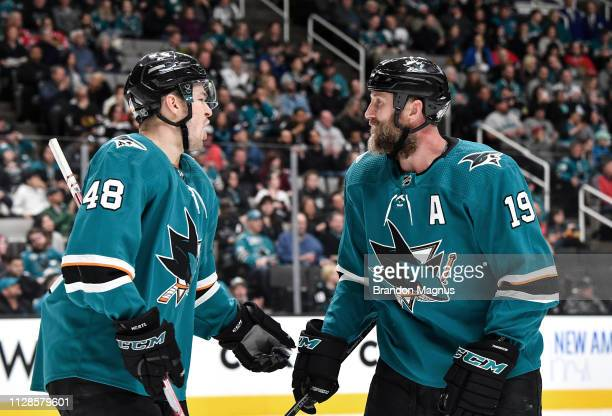 Tomas Hertl and Joe Thornton of the San Jose Sharks celebrate a goal against the Chicago Blackhawks at SAP Center on March 3 2019 in San Jose...