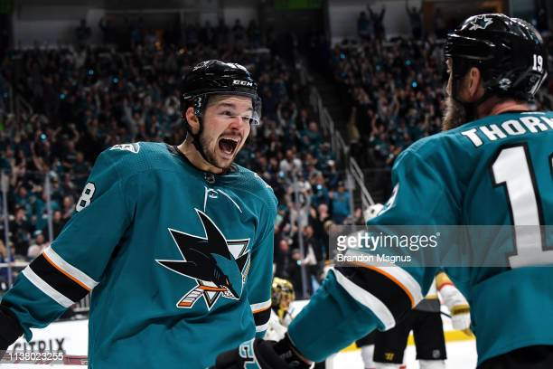 Tomas Hertl and Joe Thornton of the San Jose Sharks celebrates scoring a goal against the Vegas Golden Knights in Game Five of the Western Conference...