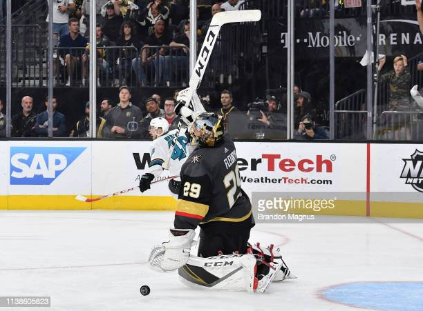 Tomas Hertl of he San Jose Sharks celebrates after scoring a goal in double overtime against the Vegas Golden Knights in Game Six of the Western...