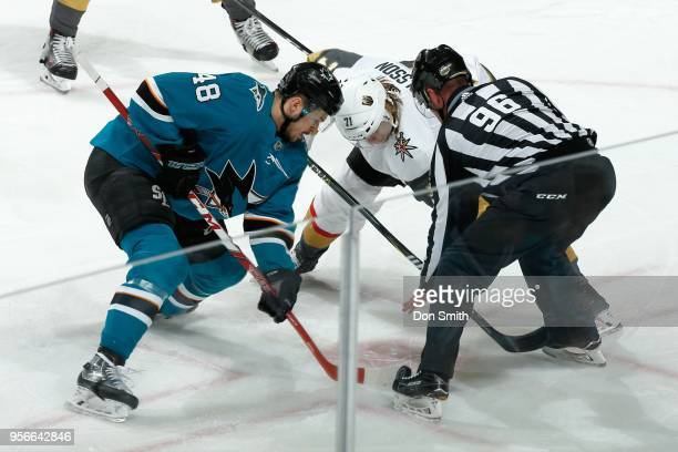 Tomas Hertl of the San Jose Sharks and William Karlsson of the Vegas Golden Knights faceoff in Game Six of the Western Conference Second Round during...