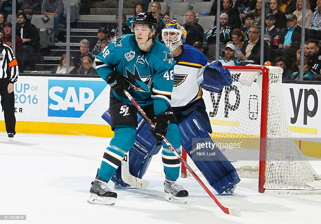 Tomas Hertl #48 of the San Jose Sharks blocks the net against Brian Elliott #1 of the St. Louis Blues during a NHL game at the SAP Center at San Jose on March 22, 2016 in San Jose, California.