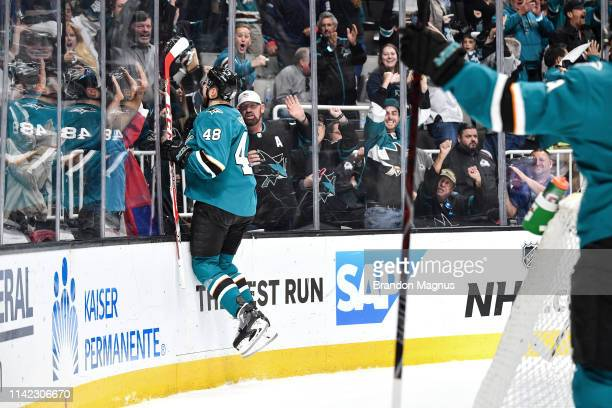 Tomas Hertl of the San Jose Sharks celebrate scoring a goal against the Colorado Avalanche in Game Seven of the Western Conference Second Round...