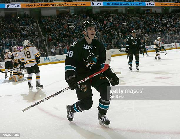 Tomas Hertl of the San Jose Sharks celebrates a goal against the Boston Bruins during an NHL game on December 4, 2014 at SAP Center in San Jose,...