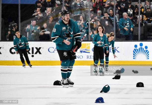 Tomas Hertl of the San Jose Sharks celebrates a hat trick against the Pittsburgh Penguins at SAP Center on January 15 2018 in San Jose California