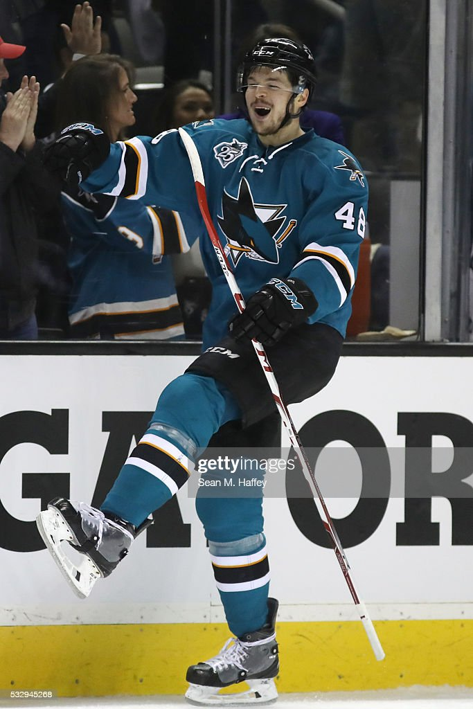 Tomas Hertl #48 of the San Jose Sharks celebrates after his second goal in game three of the Western Conference Finals against the St. Louis Blues during the 2016 NHL Stanley Cup Playoffs at SAP Center on May 19, 2016 in San Jose, California.