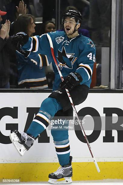 Tomas Hertl of the San Jose Sharks celebrates after his second goal in game three of the Western Conference Finals against the St Louis Blues during...